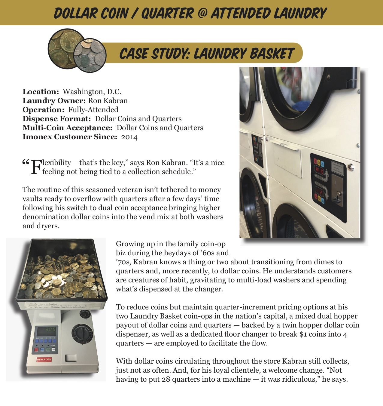 Imonex Coin & Token Acceptors - Laundry Case Studies -